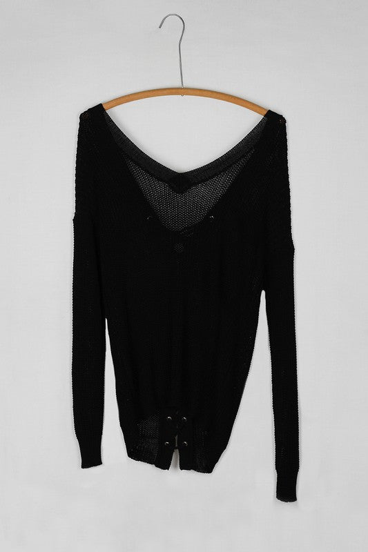 Loose Knit Lace Up Back Long Sleeve Sweater - Black