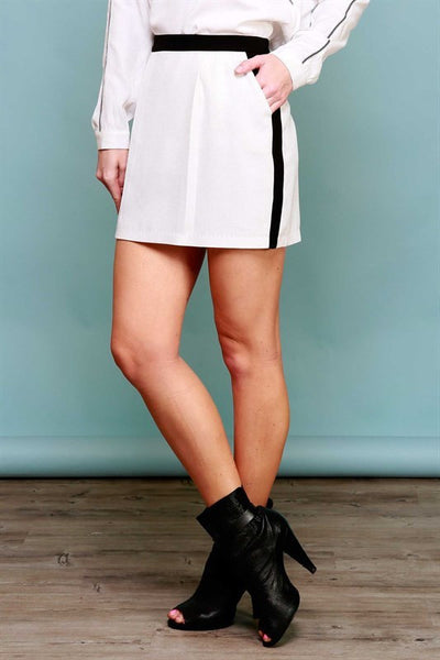 Colorblock Pencil Skirt - Ivory/Black