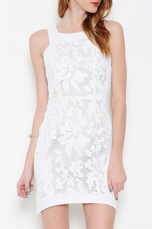 Mesh Lace Asymmetrical Hem Fitted Dress - White