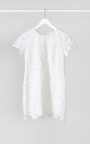 Short Sleeve Crochet Shift Dress - Ivory
