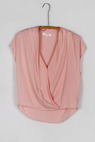 Short Sleeve Textured Drape Front Blouse - Pink