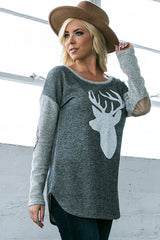 Holiday Reindeer Silhouette Colorblock Elbow Patches Terry Sweatshirt - Charcoal