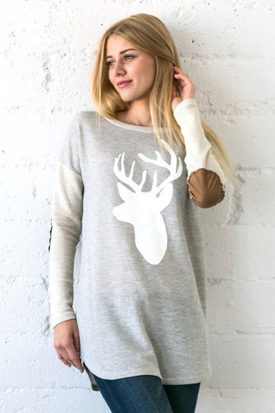 Holiday Reindeer Silhouette Colorblock Elbow Patches Terry Sweatshirt - Heather Gray