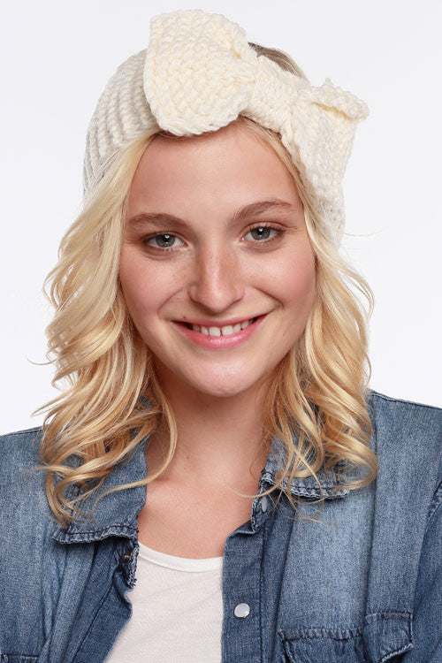 Knit Bow Ear Warmer - Black, Ivory or Beige