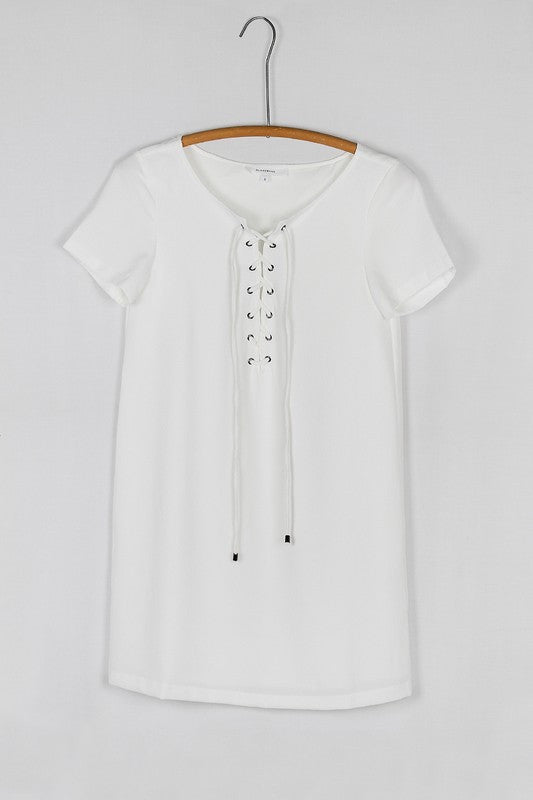 Short Sleeve Lace Up Neck Shift Dress - White
