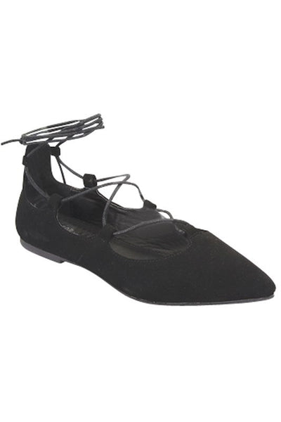 """Sleep"" Ballerina Style Lace Up Ankle Tie Flats - Black"