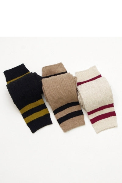 Varsity Striped Over the Knee Socks - Mocha/Black, Oatmeal/Burgundy or Black/Gold