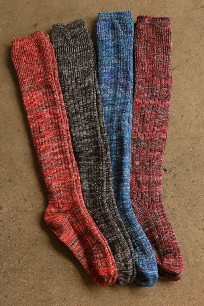 Marled Over the Knee Socks - Turquoise, Orange, Red or Black
