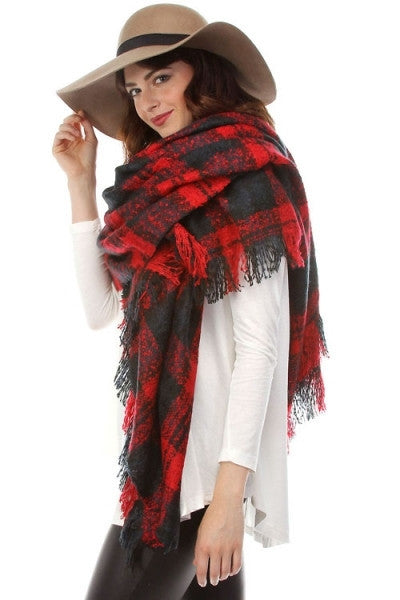 Oversized Plaid Blanket Scarf - Beige/Red, Ivory/Black, Black/Ivory, Red/Green or Gray/Pink