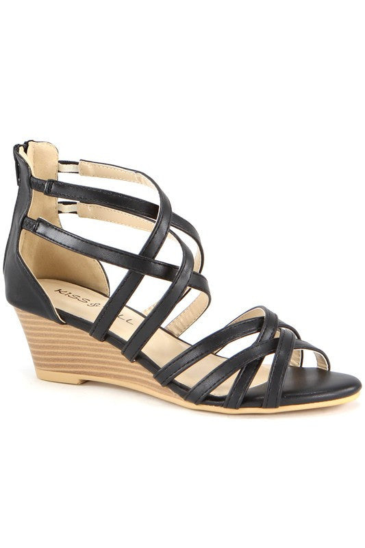 """Jamea"" Strappy Low Wedge Sandals - Black"