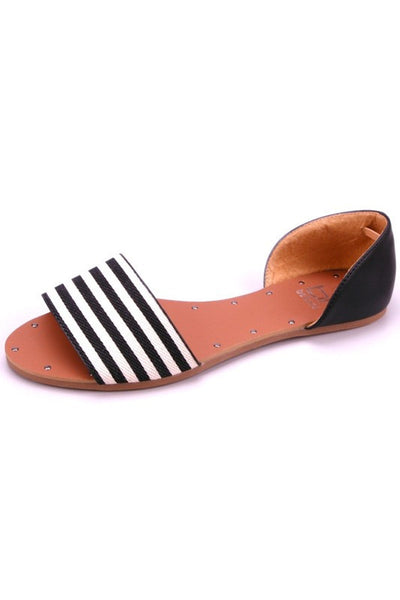 """Sonya"" Striped Strap Flat Sandals - Black/White"