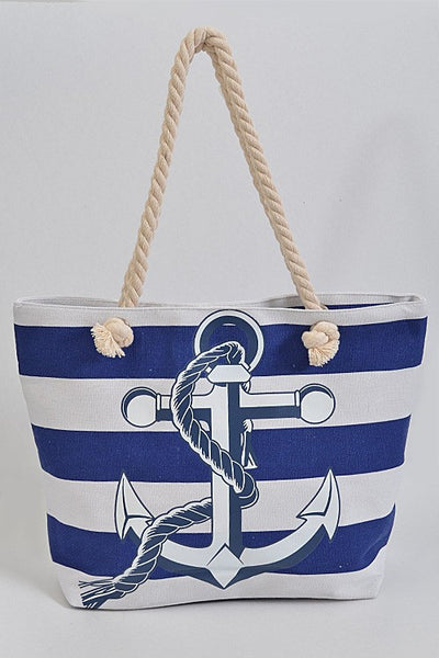 Stripes and Anchor Beach Tote Bag - Navy or Red