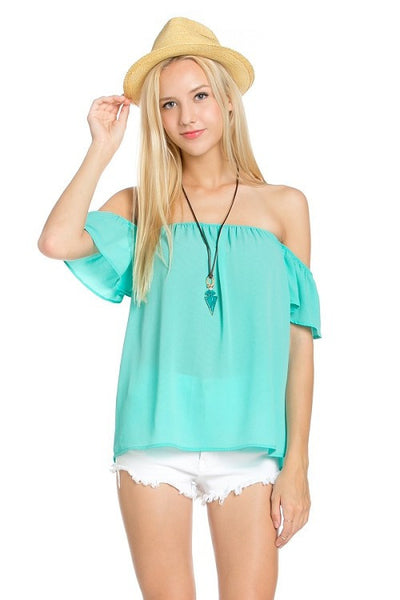 Flowy Off the Shoulder Blouse - Mint