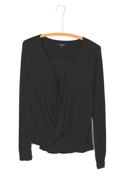 Draping Crossover Tie Front Long Sleeve Jersey Top - Black