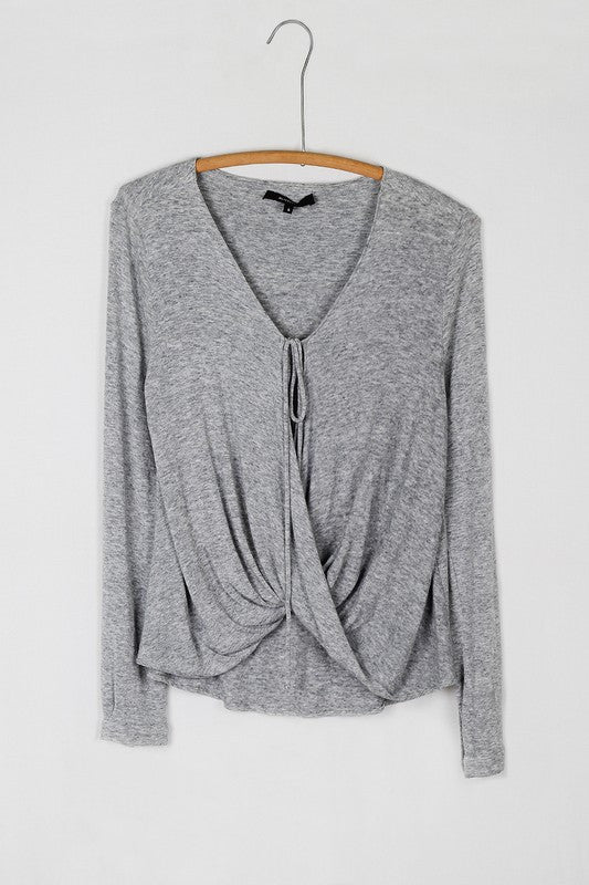 Draping Crossover Tie Front Long Sleeve Jersey Top - Heather Gray