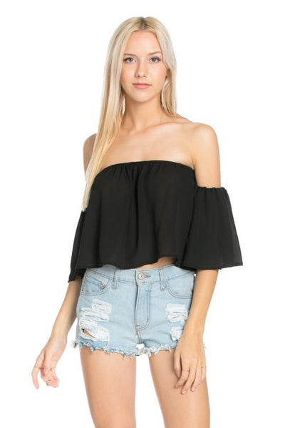 Flowy Cropped Off the Shoulder Blouse - Black