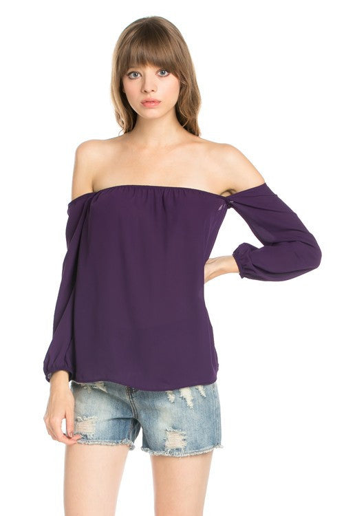 Flowy Off the Shoulder Long Sleeve Blouse - Eggplant