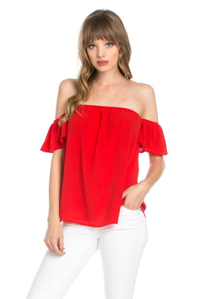 Flowy Off the Shoulder Blouse - Red