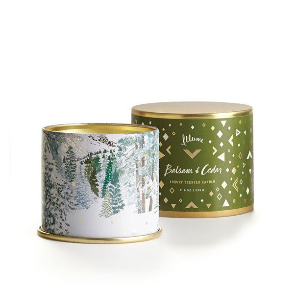 "Holiday Collection ""Balsam & Cedar"" Candles & Fragrance Items - Large Vanity Tin, Large Radiant Metal, Boxed Glass or Set of 3 Votives"