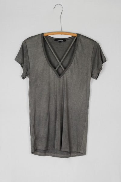 Crossover Straps Short Sleeve Washed Jersey Tee Shirt - Gray