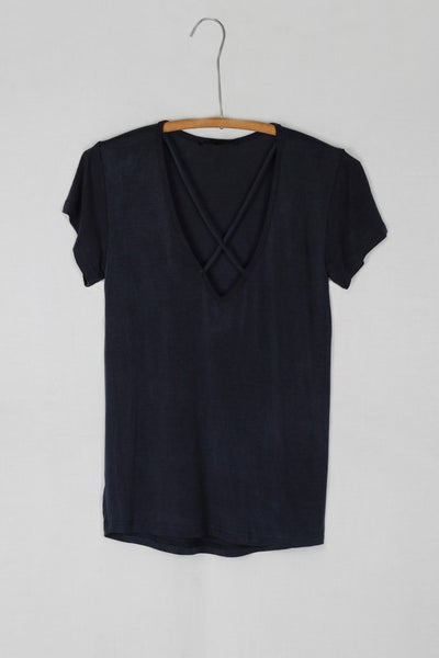 Crossover Straps Short Sleeve Washed Jersey Tee Shirt - Navy Blue