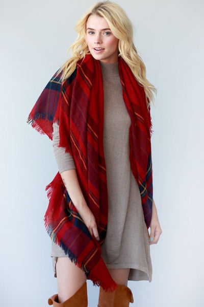 Plaid Trim Frayed Edges Blanket Scarf - Red or Black