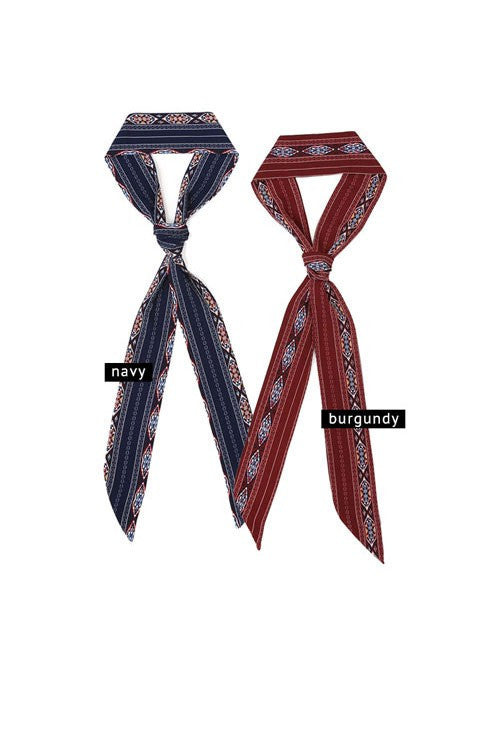 Tribal Pattern Skinny Fall Scarf - Burgundy or Navy