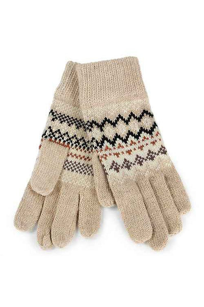 Aztec Print Knit Gloves - Black, Gray or Beige