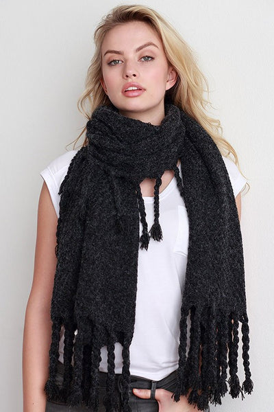 Chunky Woven Scarf with Thick Fringe - Black or Oatmeal