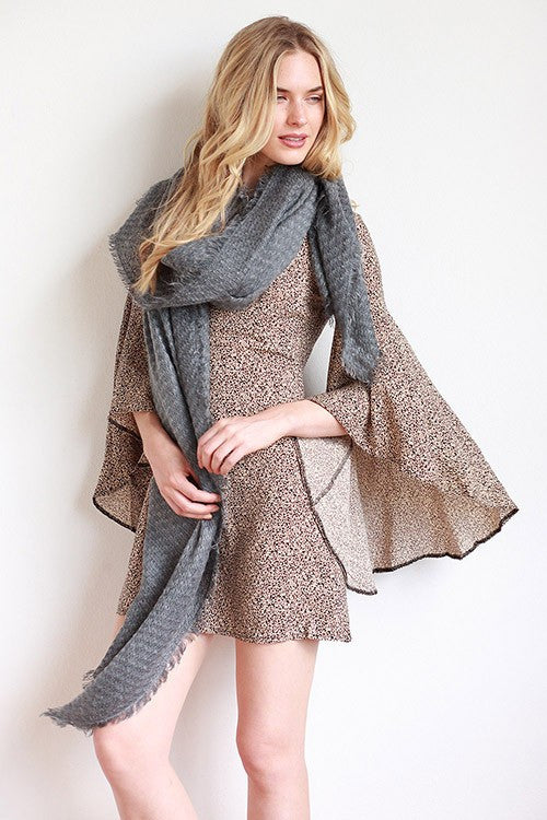 Solid Soft Waffle Texture Frayed Edges Scarf - Black, Gray or Taupe