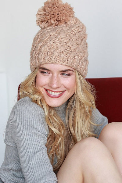 Diagonal Chunky Knit Pom Pom Beanie - Camel, Ivory, Light Gray or Dark Gray