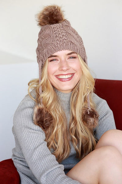 Cable Knit Beanie with Faux Fur Pom Pom and Ear Drops - Taupe