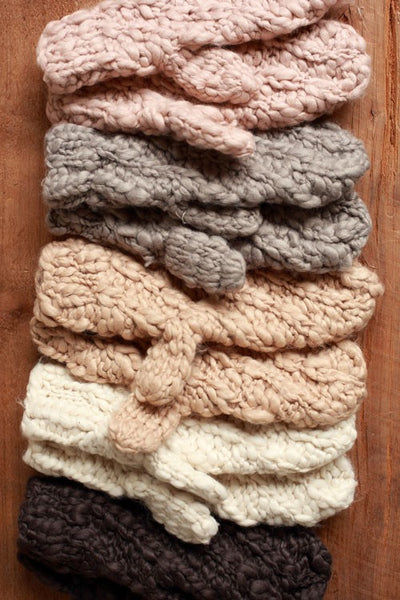 Diagonal Chunky Knit Mittens - Camel, Ivory, Light Gray or Dark Gray