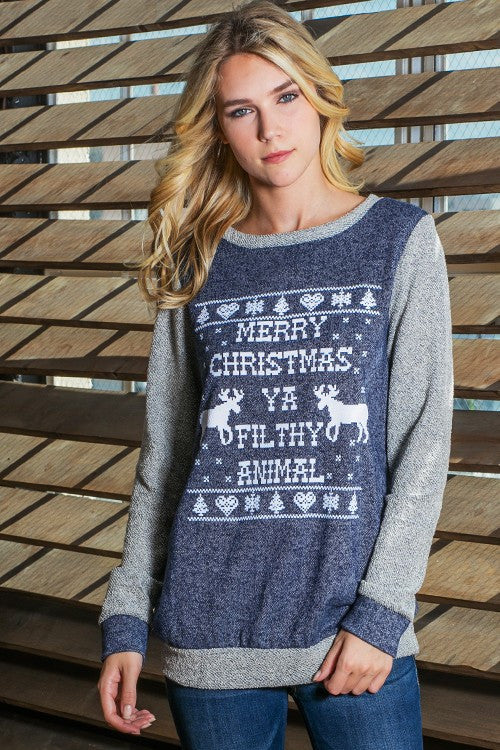 "Holiday ""Merry Christmas Ya Filthy Animal"" Colorblock Terry Sweatshirt - Navy"