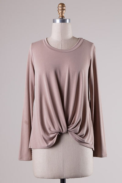 Front Twist Knot Long Sleeve Rib Jersey Top - Taupe