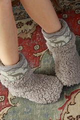 Reindeer Trim Cozy Slippers - Burgundy, Gray or Beige