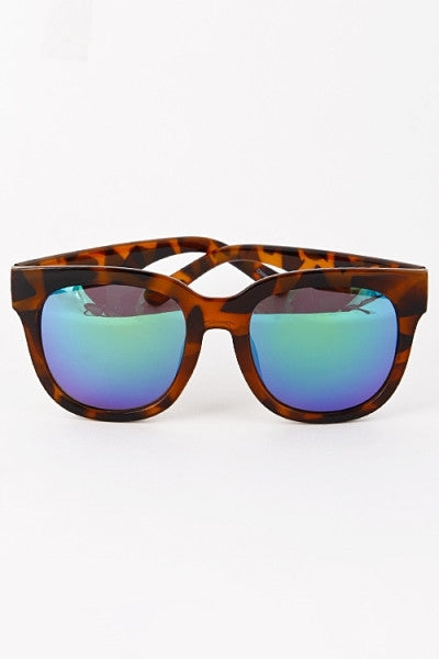 Reflective Lens Oversized Sunglasses - Black/Yellow, Black/Blue, Black/Subtle Purple, Tortoise/Yellow or Tortoise/Blue