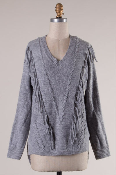 Long Sleeve Fringe Detail V-Neck Sweater - Gray