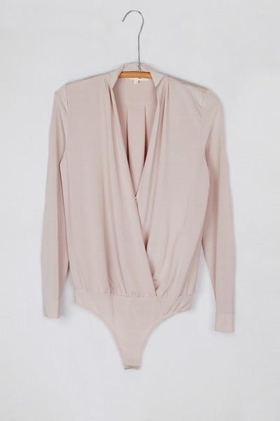 Smooth Draped Crossover Long Sleeve Bodysuit - Nude
