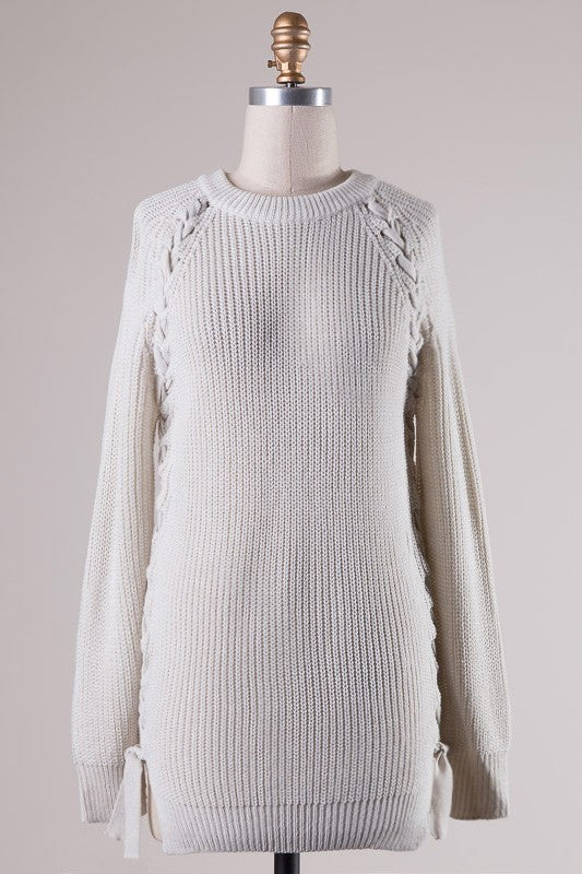Lace Up Sides Ribbed Tunic Sweater - Light Gray