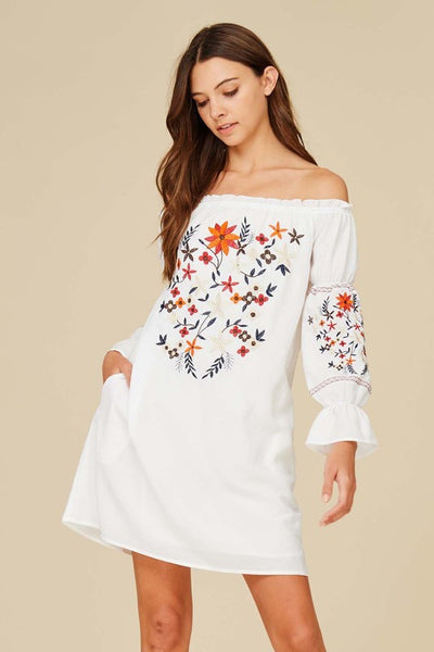 Long Sleeve Off the Shoulder Floral Embroidery Dress - Ivory