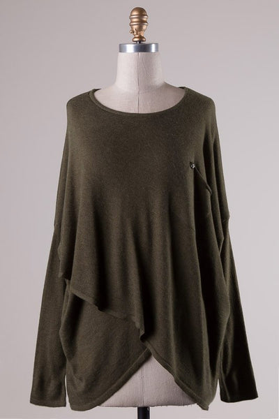 Tulip Hem Patch Pocket Tunic Sweater - Olive