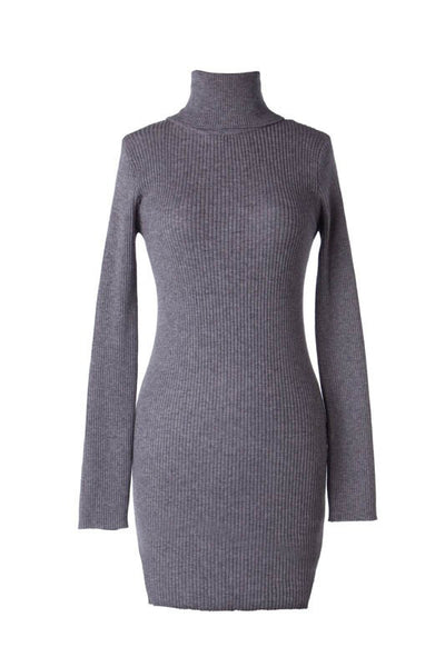 Long Sleeve Ribbed Turtleneck Bodycon Sweater Dress - Heather Gray
