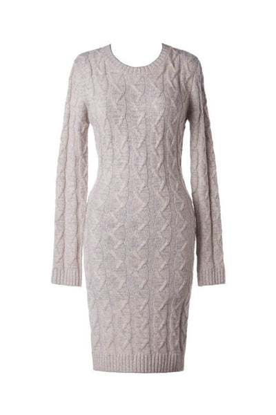 Cable Knit Long Sleeve Bodycon Sweater Dress - Oatmeal