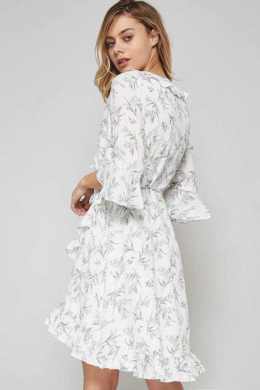 Bell Sleeve Ruffle Trim Floral Print High Low Wrap Dress - Ivory/Lavender