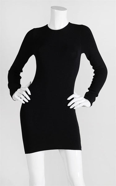 Long Sleeve Stretch Jersey Back Zipper Bodycon Dress - Black
