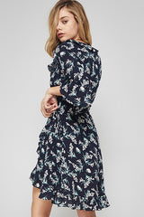 Bell Sleeve Ruffle Trim Floral Print High Low Wrap Dress - Navy/Blush