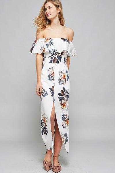 Off the Shoulder Ruffle Floral Print Front Slit Maxi Dress - Ivory/Multi