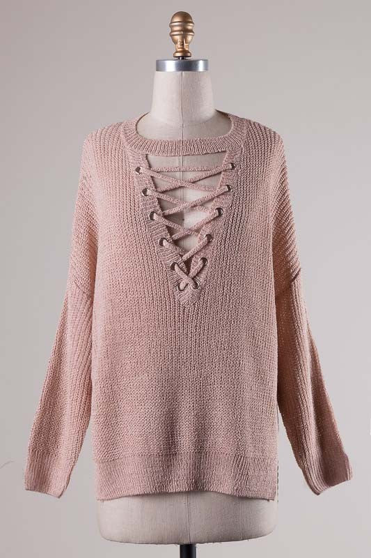 Alexa Lace Up Sweater - Dusty Pink