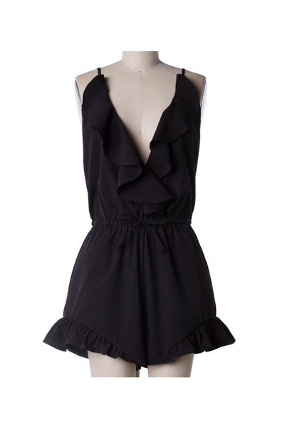 Sleeveless Ruffle Low Back Romper - Black